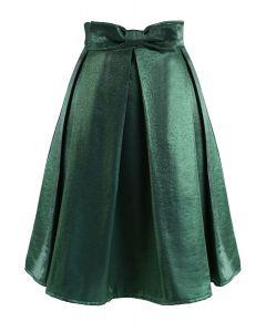 Emerald Satin Bowknot Pleated Midi Skirt