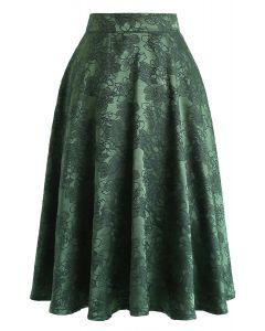 Emerald Floral Jacquard Midi Skirt