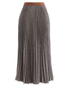 Full Plaid Pleated Midi Skirt in Brown