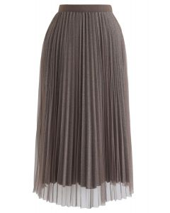 Shimmer Lining Mesh Tulle Pleated Skirt in Brown