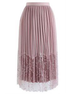 Pearls Embroidered Mesh Velvet Pleated Skirt in Pink