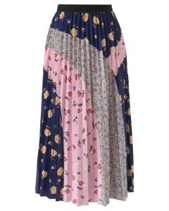Floral Color Blocked Pleated Midi Skirt in Navy