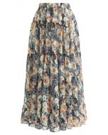 Floral Blossom Watercolor Ruffle Maxi Skirt in Yellow