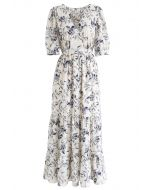 Navy Floral Frilling Wrapped Dress