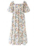 Multicolored Posy Print Frill Hem Dolly Dress