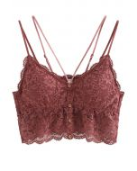 Strappy Full Lace Button Down Bustier Top in Wine