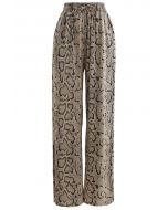 Snake Print Split Hem Drawstring Pants