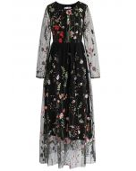 Lost in Flowering Fields Embroidered Mesh Maxi Dress in Black