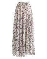 Snake Printed Asymmetric Chiffon Maxi Skirt